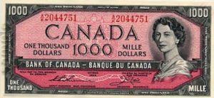 1000 dolarów kanadyjskich