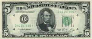 5 dolarów amerykańskich - banknot 2